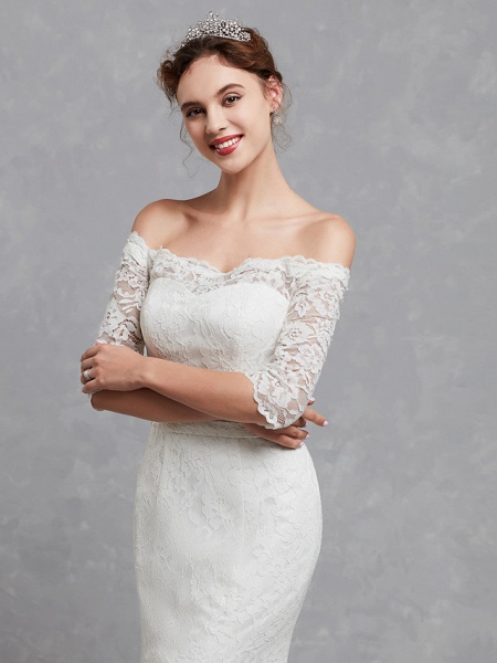 Mermaid \ Trumpet Wedding Dresses Off Shoulder Court Train Lace 3\4 Length Sleeve Cutouts_4