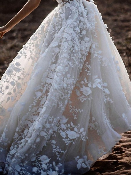 A-Line Wedding Dresses Plunging Neck Court Train Polyester Cap Sleeve Sexy Plus Size_3