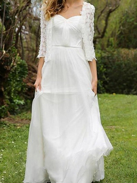 A-Line Wedding Dresses Sweetheart Neckline Floor Length Chiffon Lace Half Sleeve Simple Beach Cape_3