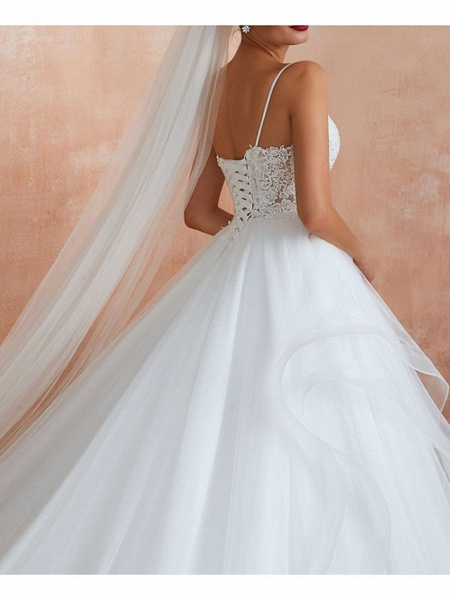 A-Line V Neck Court Train Lace Tulle Sleeveless Sexy See-Through Illusion Detail Wedding Dresses_4