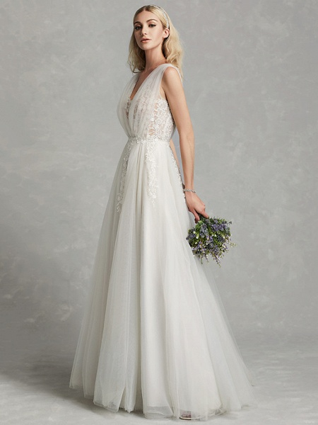 A-Line Wedding Dresses V Neck Floor Length Lace Tulle Regular Straps Romantic Plus Size Illusion Sleeve_3