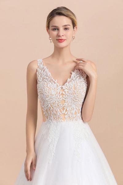 Elegant Sleeveless A-line Floral Appliques Wedding Dress_2