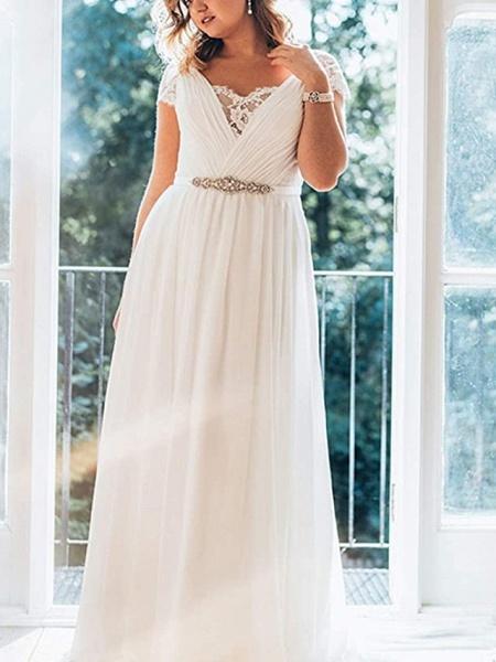 A-Line Wedding Dresses V Neck Sweep \ Brush Train Chiffon Lace Short Sleeve Simple Plus Size_1