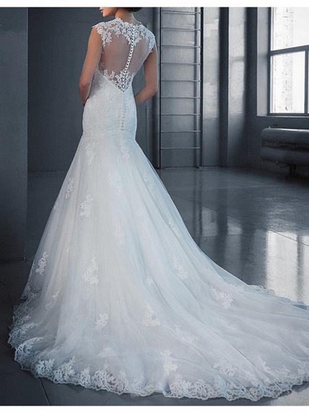 Mermaid \ Trumpet Wedding Dresses Jewel Neck Court Train Lace Regular Straps_2