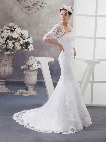 Mermaid \ Trumpet Strapless Court Train Lace Satin Half Sleeve Wedding Dresses_2