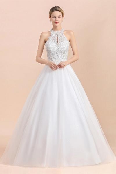 Halter Lace Appliques A-line Sequins Sleeveless Wedding Dress_5