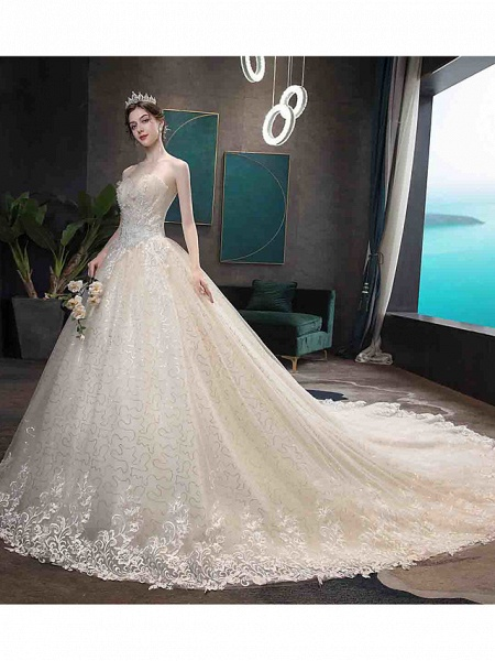 Ball Gown Wedding Dresses Strapless Court Train Tulle Strapless Country Glamorous Illusion Detail_5