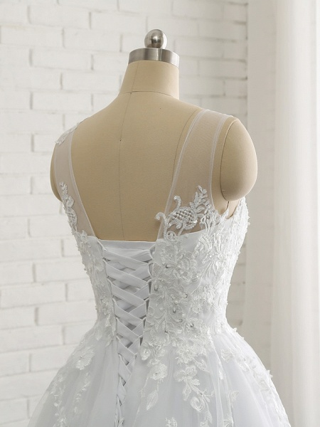 A-Line Wedding Dresses Scoop Neck Court Train Lace Tulle Lace Over Satin Regular Straps Romantic See-Through_8