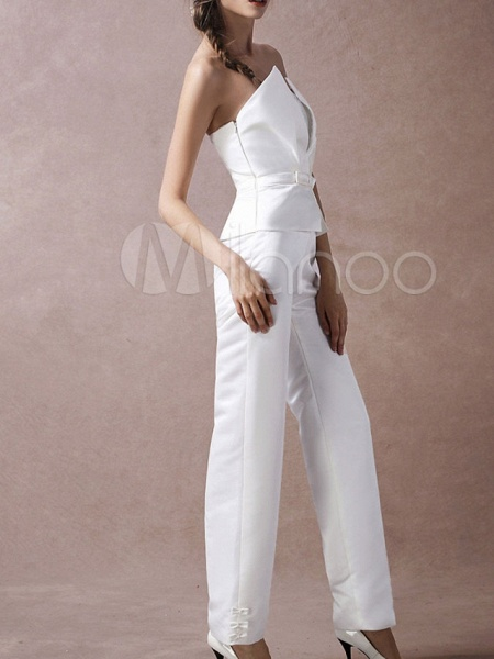 Jumpsuits Wedding Dresses V Neck Floor Length Satin Sleeveless Simple Modern_4