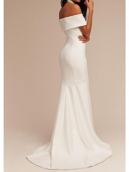 Mermaid \ Trumpet Wedding Dresses V Neck Sweep \ Brush Train Satin Regular Straps Formal Plus Size_2
