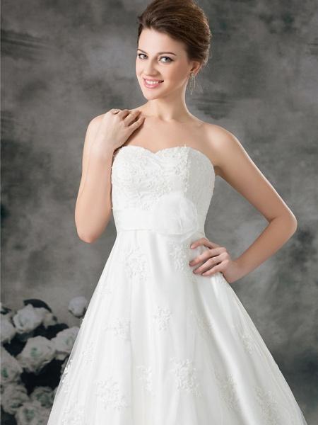 A-Line Sweetheart Neckline Court Train Lace Satin Strapless Wedding Dresses_5