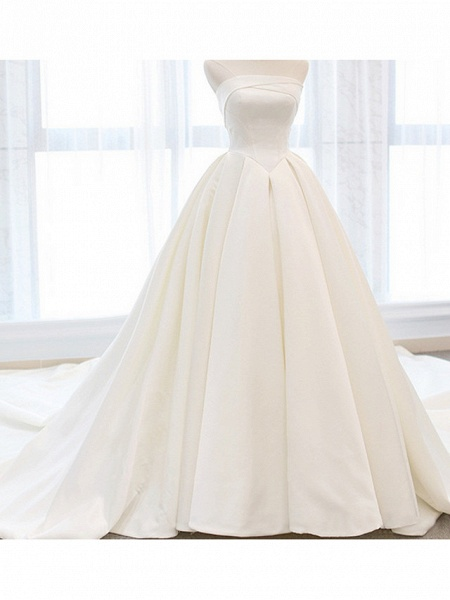 A-Line Wedding Dresses Strapless Cathedral Train Chiffon Strapless_3
