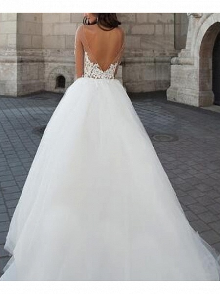 A-Line Wedding Dresses Strapless Floor Length Lace Tulle Long Sleeve Formal Illusion Sleeve_2