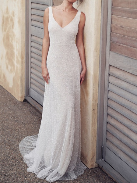 A-Line Wedding Dresses V Neck Court Train Tulle Sleeveless Vintage Sexy Wedding Dress in Color See-Through_2