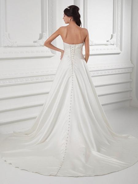 A-Line Sweetheart Neckline Court Train Satin Strapless Wedding Dresses_3