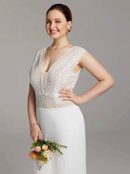 Mermaid \ Trumpet Wedding Dresses V Neck Sweep \ Brush Train Chiffon Lace Sleeveless Open Back See-Through_5