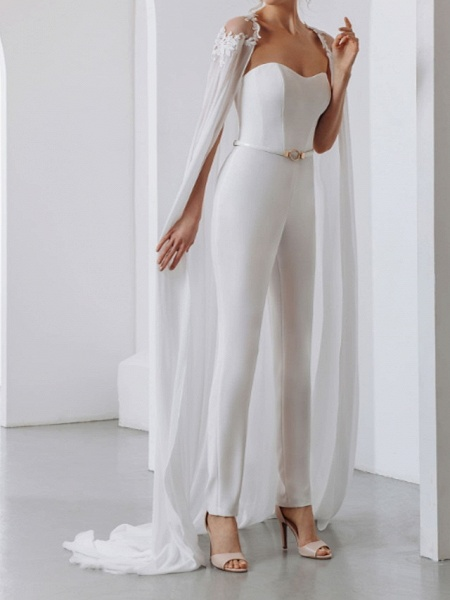 Two Piece Jumpsuits Wedding Dresses Strapless Sweep \ Brush Train Lace Stretch Satin Short Sleeve Country Plus Size_6