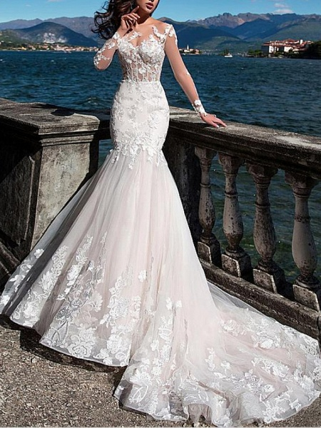 Mermaid \ Trumpet Jewel Neck Court Train Lace Tulle Long Sleeve Formal See-Through Wedding Dresses_1
