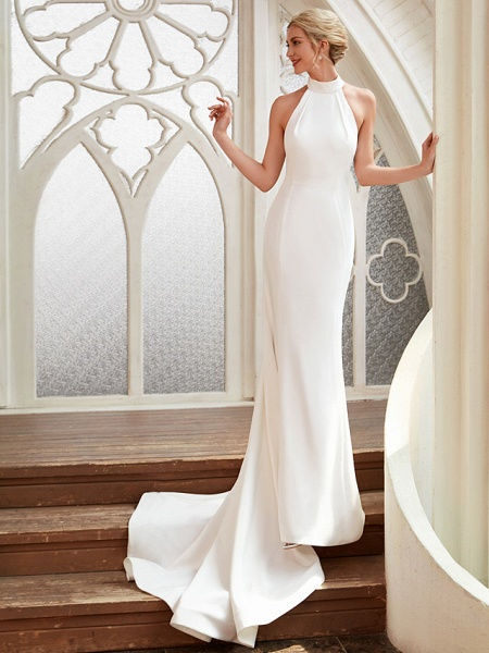 Sheath \ Column Wedding Dresses Halter Neck Court Train Chiffon Satin Regular Straps Simple Backless Elegant_1