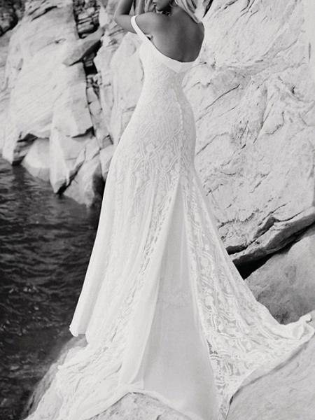 Mermaid \ Trumpet Wedding Dresses Sweetheart Neckline Sweep \ Brush Train Lace Satin Short Sleeve Vintage Sexy Backless_4