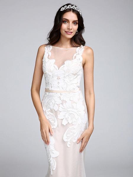 Mermaid \ Trumpet Wedding Dresses Bateau Neck Sweep \ Brush Train Tulle Floral Lace Regular Straps Romantic Boho Sexy See-Through Illusion Detail_6