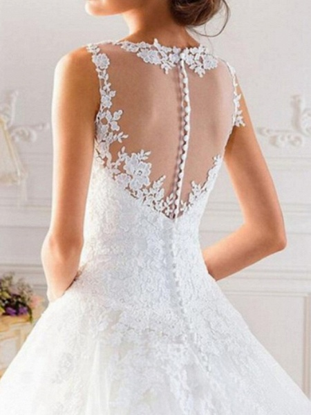 A-Line Wedding Dresses Jewel Neck Sweep \ Brush Train Tulle Regular Straps Glamorous See-Through Illusion Detail Backless_3
