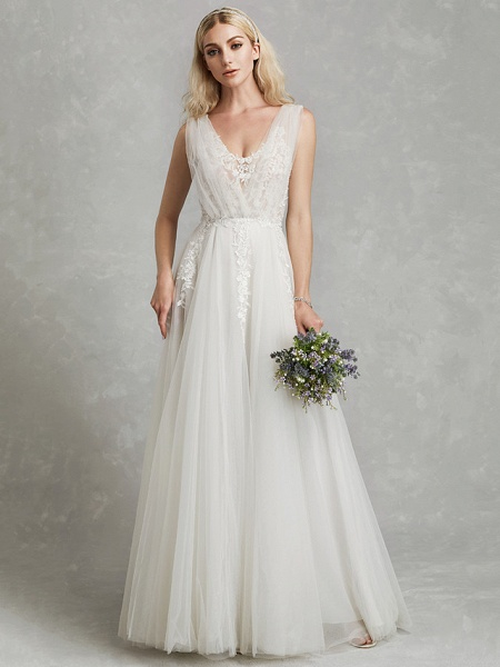 A-Line Wedding Dresses V Neck Floor Length Lace Tulle Regular Straps Romantic Plus Size Illusion Sleeve_4