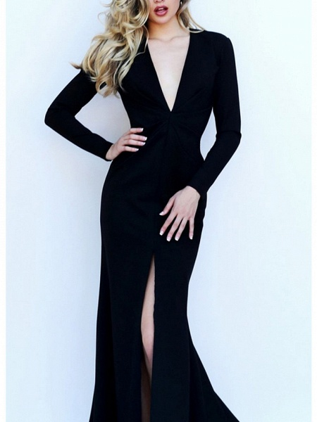 Mermaid \ Trumpet Wedding Dresses V Neck Floor Length Satin Long Sleeve Formal Black_2