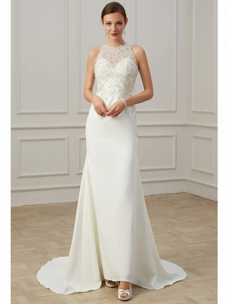 Mermaid \ Trumpet Wedding Dresses Jewel Neck Sweep \ Brush Train Lace Tulle Sleeveless Formal Illusion Detail Plus Size_2
