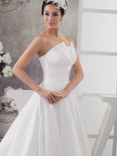 A-Line Wedding Dresses Strapless Chapel Train Satin Strapless_4