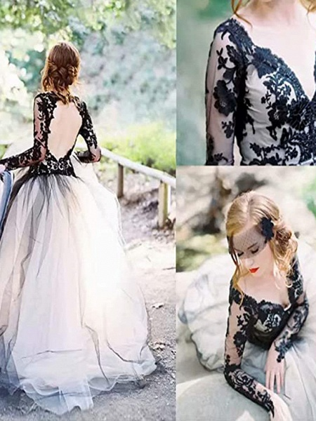 A-Line Wedding Dresses Plunging Neck Sweep \ Brush Train Polyester Long Sleeve Country Plus Size_3