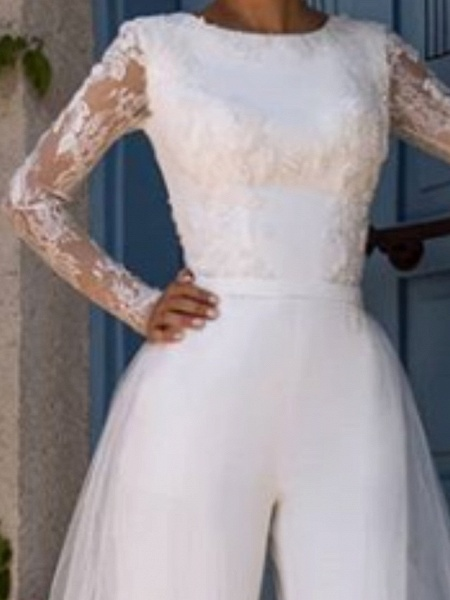 Jumpsuits Wedding Dresses Jewel Neck Court Train Lace Tulle Long Sleeve Modern Illusion Sleeve_2