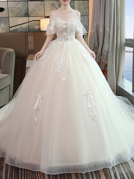 A-Line Wedding Dresses V Neck Floor Length Lace Tulle Sleeveless Casual Beach Plus Size_1