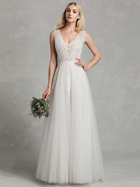 A-Line Wedding Dresses V Neck Floor Length Lace Tulle Regular Straps Romantic Plus Size Illusion Sleeve_1