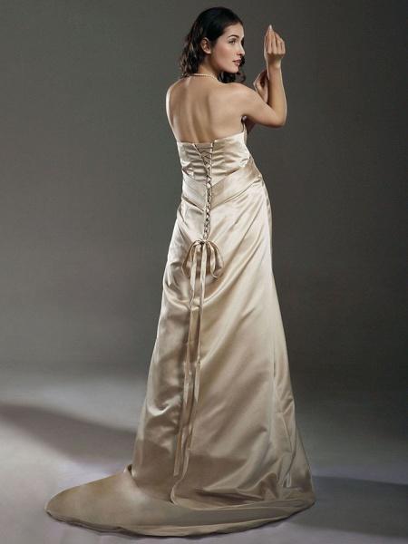 Sheath \ Column Wedding Dresses Strapless Sweetheart Neckline Court Train Satin Sleeveless_3