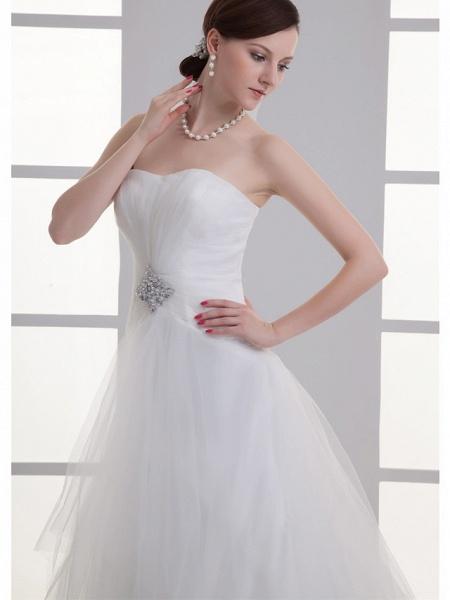 A-Line Wedding Dresses Sweetheart Neckline Chapel Train Lace Satin Strapless_4