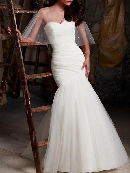 Mermaid \ Trumpet Wedding Dresses Strapless Sweep \ Brush Train Tulle Sleeveless Sexy Cape_1