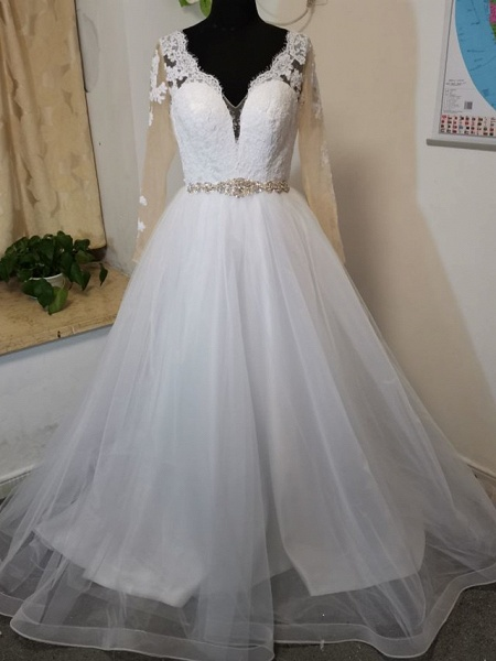 A-Line Wedding Dresses V Neck Court Train Tulle Long Sleeve Formal Casual Beach Illusion Sleeve_3