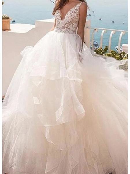 Ball Gown Wedding Dresses V Neck Sweep \ Brush Train Lace Tulle Sleeveless Country Sexy See-Through_3