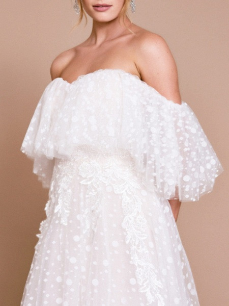 A-Line Wedding Dresses Off Shoulder Sweep \ Brush Train Tulle Half Sleeve Beach Sexy Wedding Dress in Color Backless_3