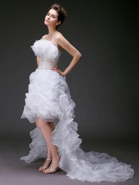 Ball Gown Strapless Sweep \ Brush Train Asymmetrical Organza Sleeveless Wedding Dresses_2