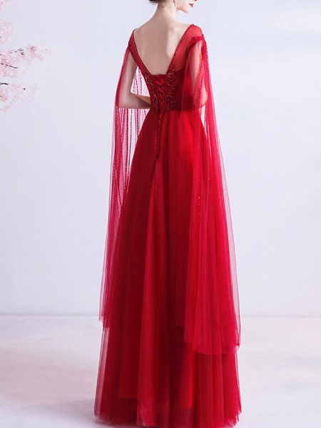 A-Line Wedding Dresses Jewel Neck Floor Length Organza Cap Sleeve Romantic Plus Size Red_4