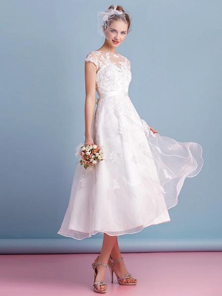 A-Line Wedding Dresses Bateau Neck Tea Length Organza Cap Sleeve Simple Casual Illusion Detail_8