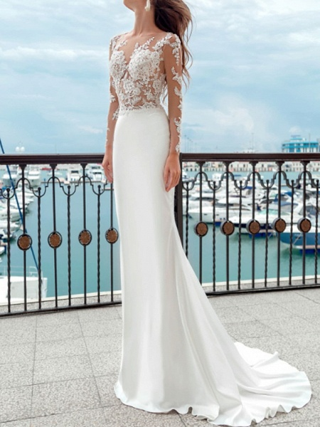 Mermaid \ Trumpet Wedding Dresses Jewel Neck Sweep \ Brush Train Lace Polyester Long Sleeve Country Plus Size_3