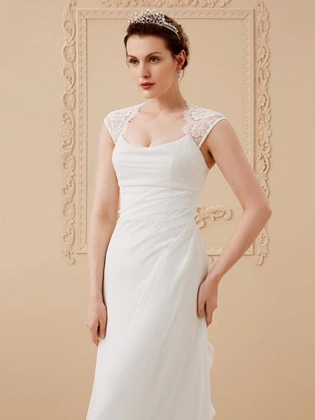 Sheath \ Column Wedding Dresses Square Neck Floor Length Chiffon Lace Cap Sleeve Simple Illusion Detail_4