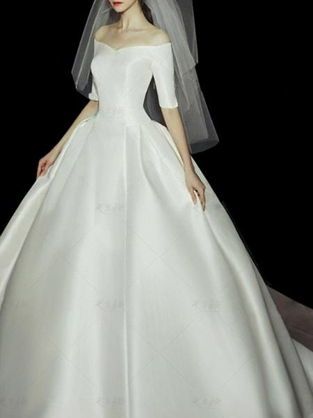 Ball Gown Wedding Dresses Off Shoulder Sweep \ Brush Train Lace Tulle Half Sleeve Vintage Plus Size Elegant_1
