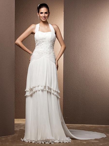 Sheath \ Column Wedding Dresses Halter Neck Floor Length Chiffon Sleeveless_4