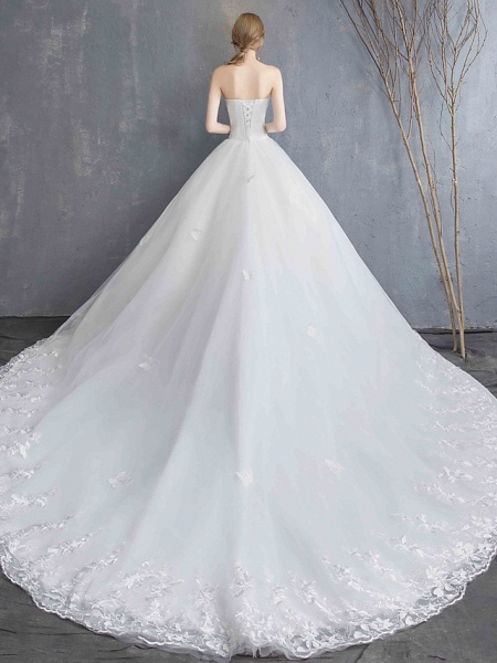 Ball Gown Wedding Dresses Strapless Chapel Train Lace Tulle Lace Over Satin Strapless Formal Vintage Illusion Detail_11