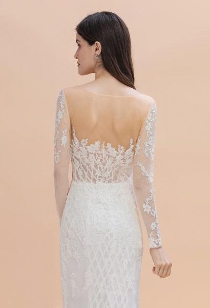Mermaid Lace Long Sleeve Wedding Dresses With Detachable Train_6