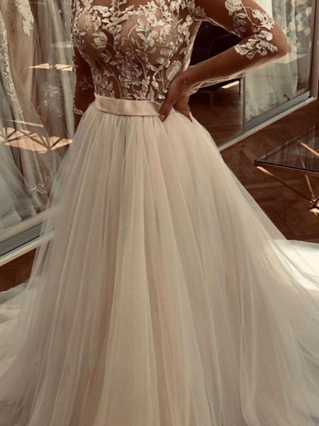 A-Line Wedding Dresses Jewel Neck Sweep \ Brush Train Lace Tulle Long Sleeve Sexy See-Through_3